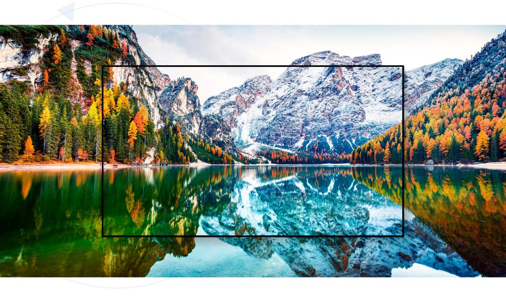 A TV screen capturing the scenary of the mountain and the lake is enlarged (play the video)