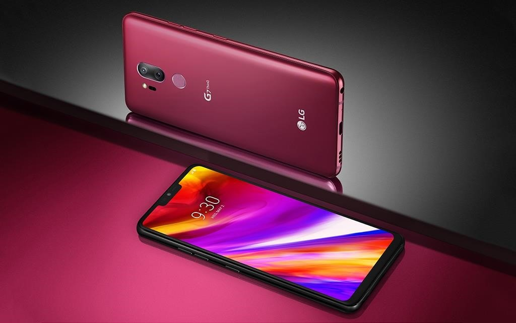 LG G7 smartphone from two different angles; firstly from the back with the camera lens in view and secondly from the side, with the screen and new notch look in view.