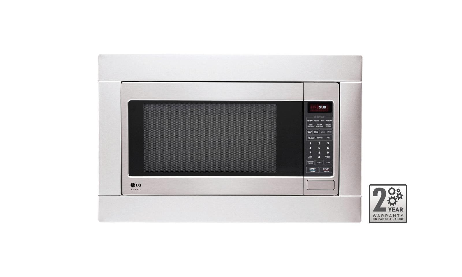 lg studio 2 0 cu ft countertop microwave oven with easyclean and optional trim kit