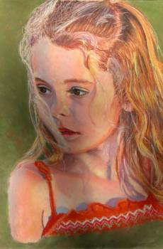 "© 2015 Laura Gabel, ""GG"". Pastel on Uart in a gold frame, 13 1/4 x 16 1/4. $950.00."