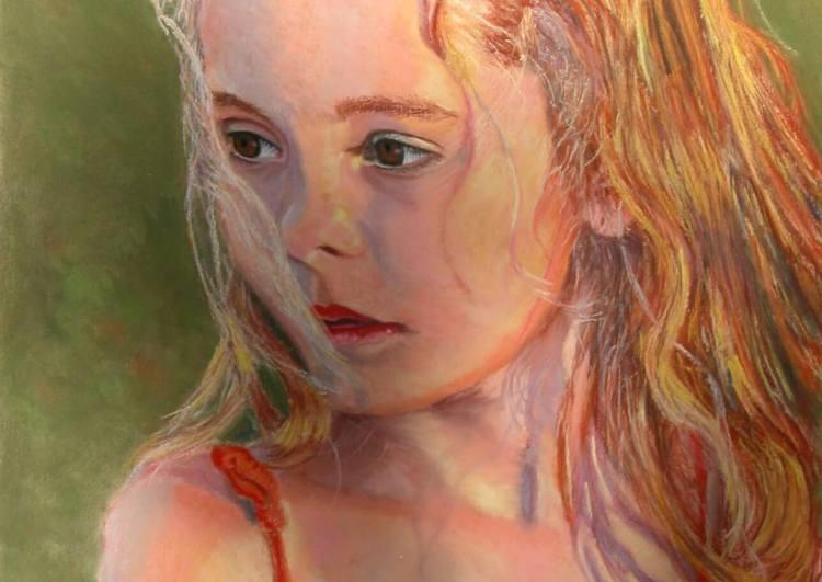 "© 2015 Laura Gabel, ""GG"". Pastel on Uart in a gold frame, 13 1/4 x 16 1/4. $950.00."