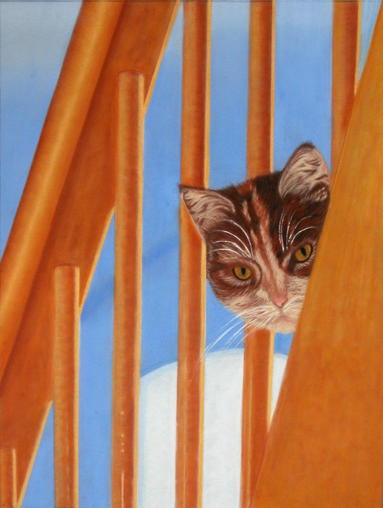"""© Laura Gabel, """"I See You Too"""". Pastel on suede matteboard. Private collection."""