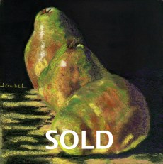 """© Laura Gabel, """"Me First Pears"""". Pastel on UArt, framed in black with a green suede mat, 13 3/4 x 13 3/4. Private collection."""