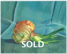 "© Laura Gabel. ""Turquoise Onion"". Soft Pastel on Pastelbord, white frame, 17 x 14. Private collection."