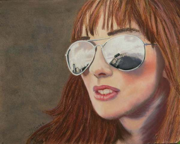 "© Laura Gabel, ""Looking Ahead"". Pastel on UArt, framed with mauve mat and double framed bronze interior and silver exterior, 19 x 15 3/4. $650."