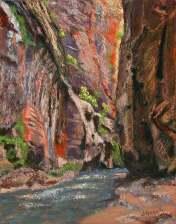 "© Laura Gabel, ""Apricot Canyon 2"". Soft pastel, 16 x 20. $650."