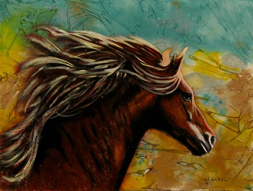 """© Laura Gabel, """"Horse in Heaven"""". Acrylic and watercolor, 9 x 12. Private collection."""