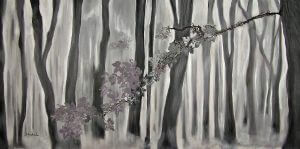 "© Laura Gabel, ""Mauve Leaves"". Acrylic on canvas, 24 x 48. Private collection."