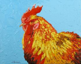 """© Laura Gabel, """"Sunny"""". 8 x 10, acrylic. Private collection."""