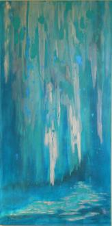 """© Laura Gabel, """"Sarasota Waterfall"""". Acrylic, 24x48. Private collection."""