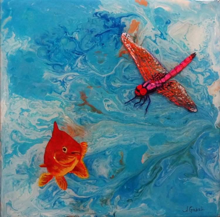 "© Laura Gabel, ""Fishing Around"". 12x12, mixed media. $250. blessing blog"