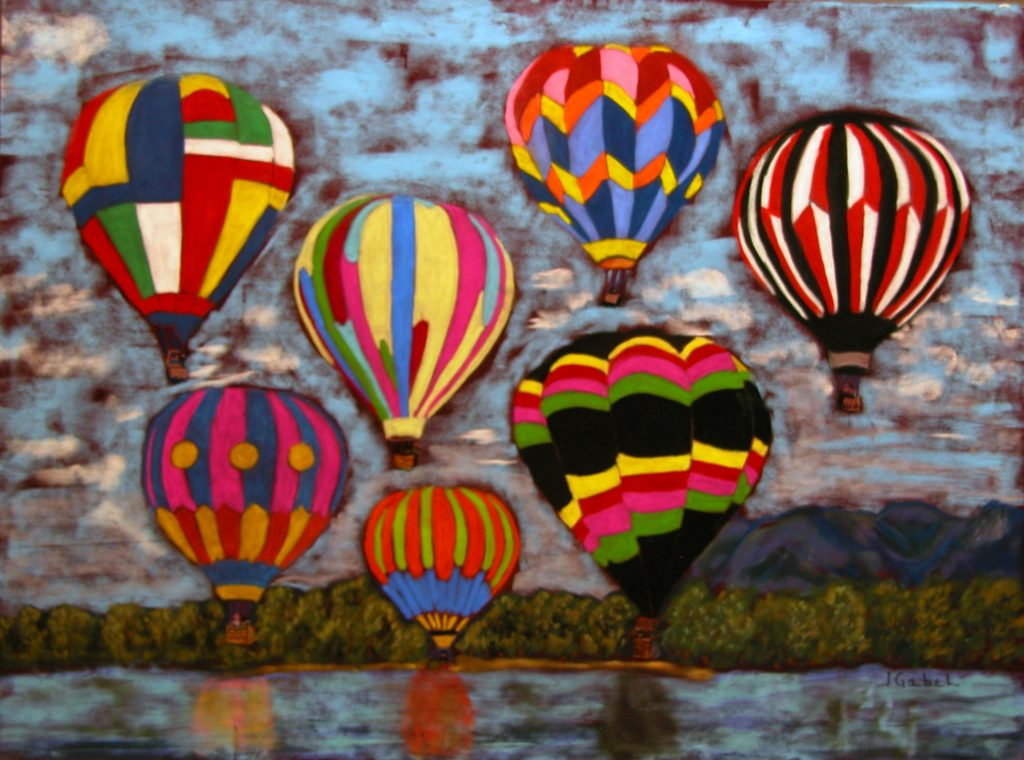 """© Laura Gabel, """"Balloon Family"""". 16x20, pastel. Private collection. happy family balloons 5"""