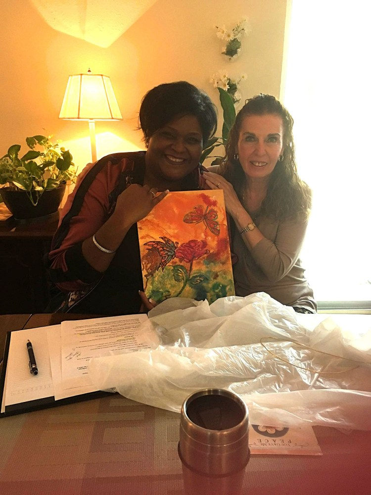 Am I Crazy? Denese and Laura with painting