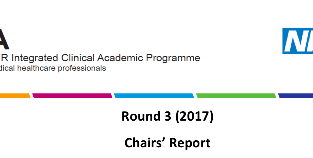 Reflections on Chairs feedback from 2017 NIHR ICA applications