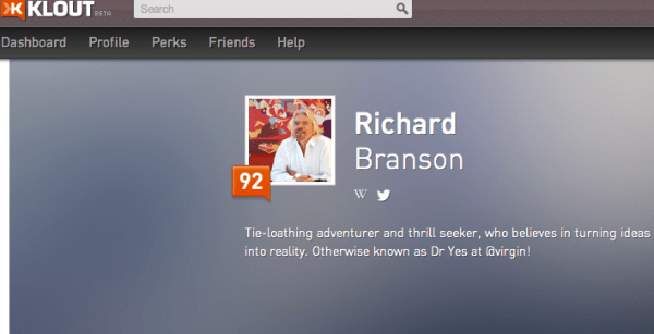 Klout Richard Branson