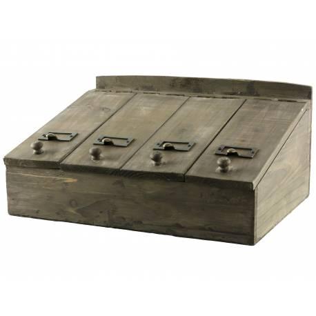 boite a couvert a rabats coffret a thes casier de rangement en bois 19x28x40cm