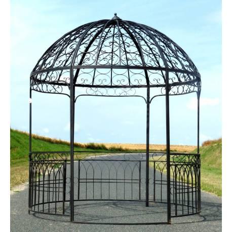 Grande Tonnelle Kiosque de Jardin Pergola Abris Rond Gloriette en Fer Forg Marron 250x250x290cm