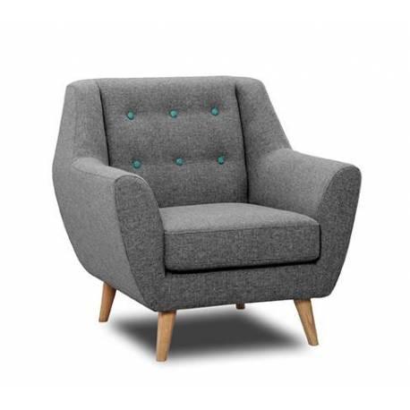 fauteuil midelton intradomus gris souris siege de salon retro bois chene et tissu chine a boutons bleu turquoise 82x86x86cm