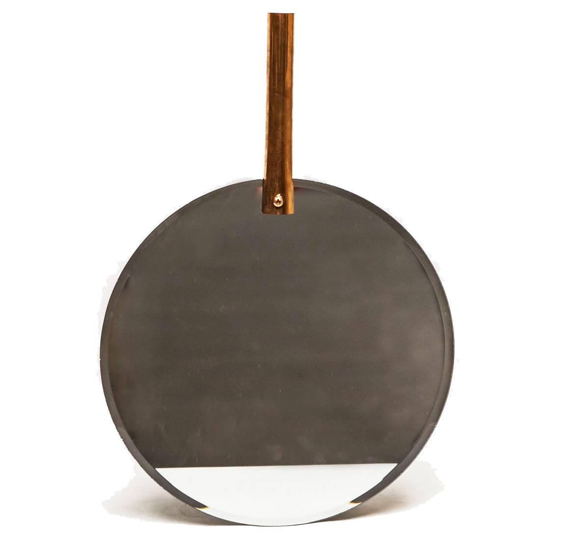 Miroir Mural Glace Tendance De Forme Ronde En Fer Patine Avec Cylindre De Fixation En Cuivre 2x30x43 5cm L Heritier Du Temps