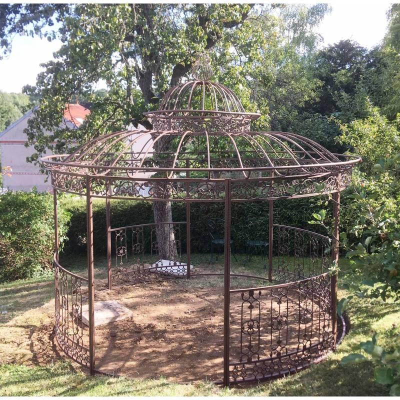 Grande Tonnelle Kiosque de Jardin Pergola Abris Rond Kiosque en Fer Forg et Fonte Marron
