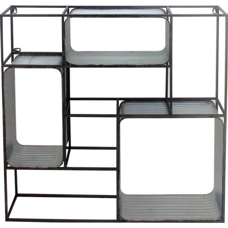 etagere box 8 casiers marque athezza support mural carre decoratif style industriel en acier et zinc 14x80x80cm