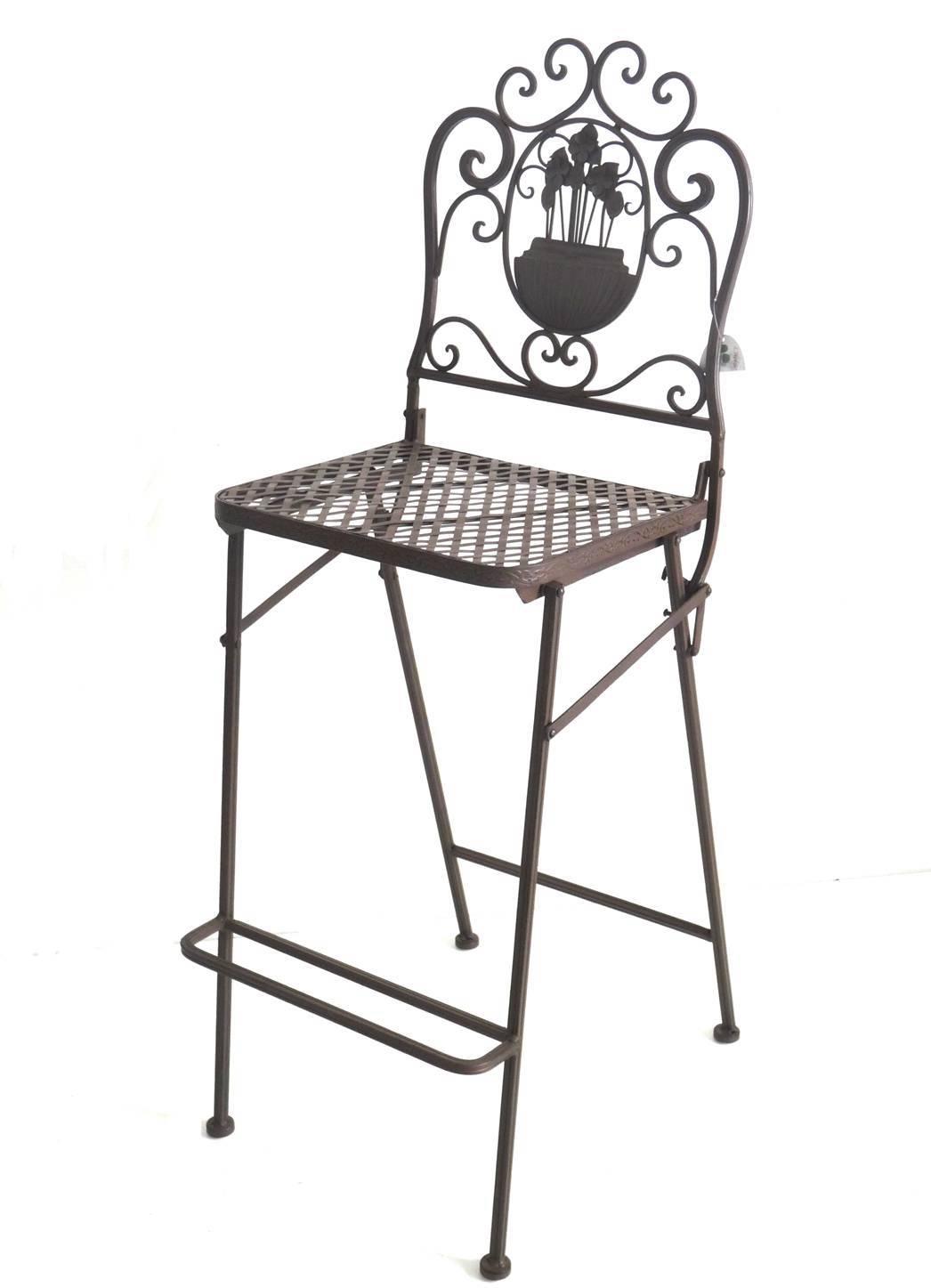 chaise haute pliante fauteuil de bar pliable ou pour ilot central en fer forge marron 39x116cm