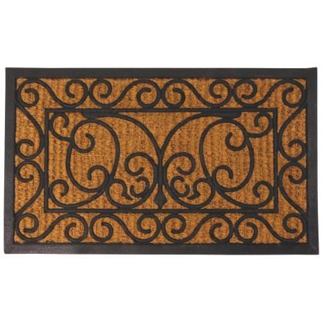 tapis gratte pieds de forme rectangulaire ou paillasson motifs volutes et feuilles en coco et caoutchouc 1 1x45x75cm