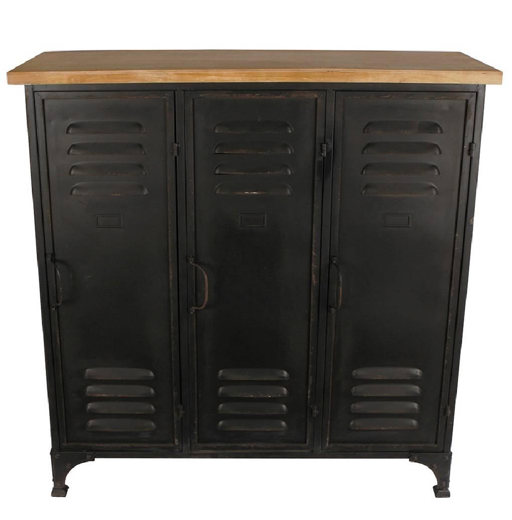 bahut industriel 3 casiers meuble rangement tiroir buffet style usine en metal noir et bois clair 36x91 5x93cm