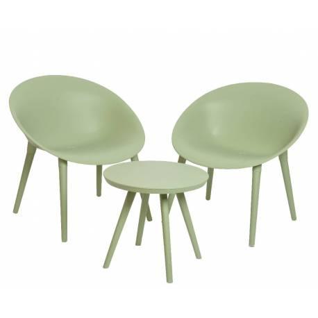 salon de jardin moderne salon de the 2 places personnes contemporain table bistrot et 2 chaises en pvc vert