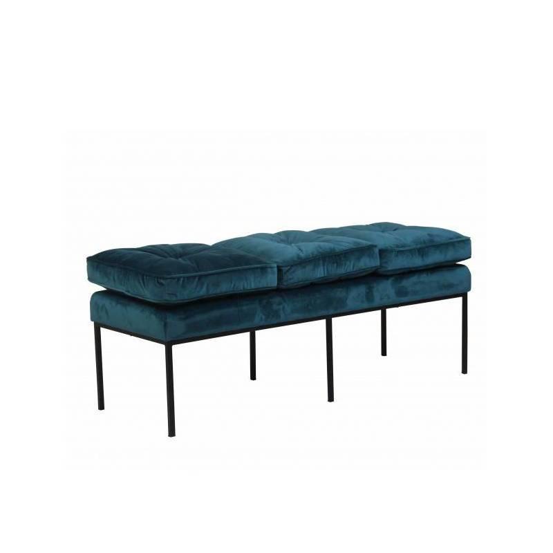 banc nirva marque hanjel banquette bout de lit look retro en velours bleu canard et acier noir 42x49x124cm