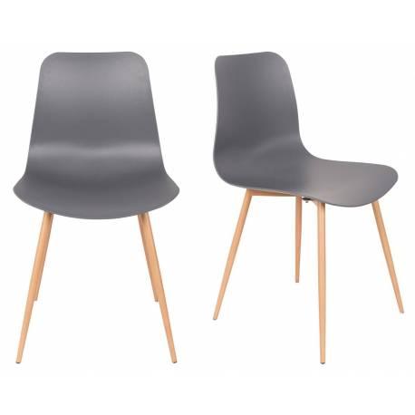 lot de 2 chaises design leon assises woody de table en acier et plastique gris 44 5x49x80cm