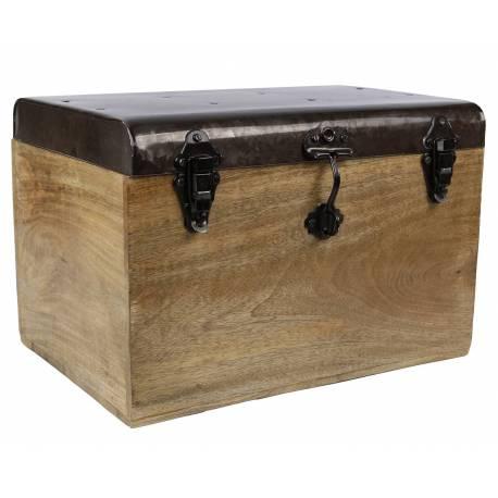 malle style ancien coffre de rangement a jouets bar range bouteilles en bois et metal 28x28x42cm