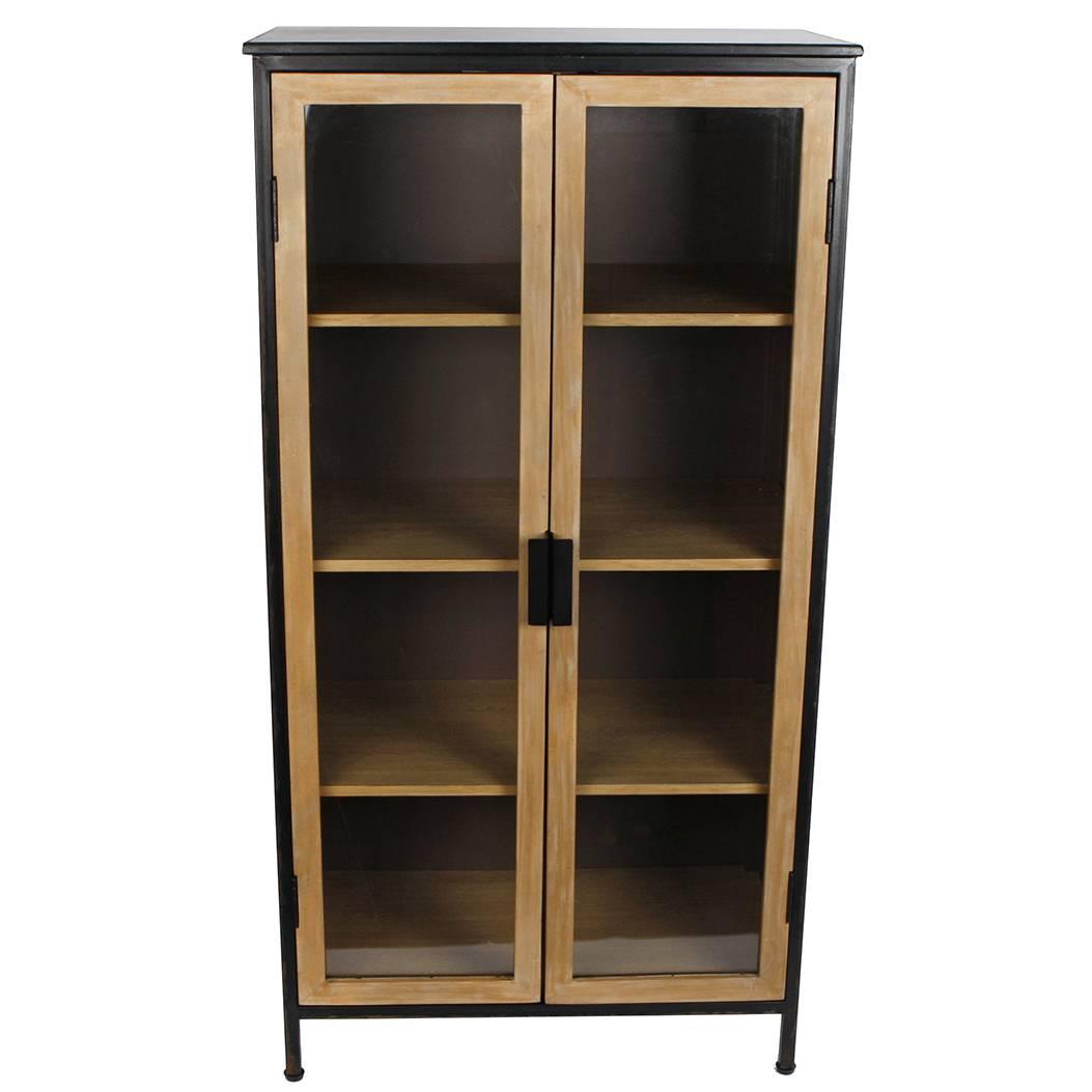 armoire de rangement etagere vitree meuble vitrine bahut en acier et bois 33x57x110cm