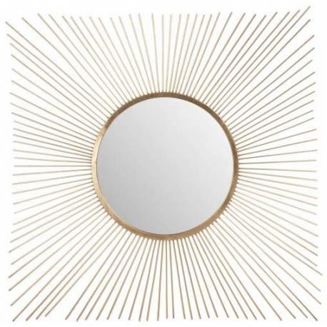 grand miroir j line rayon de soleil carre en metal dore 2 5x102x102cm