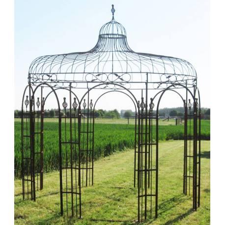 harmonieuse gloriette de jardin tonnelle pergola kiosque en acier oxyde 320x320x380cm