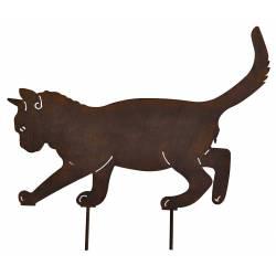 chat a piquer decoration de jardin ombre silhouette en metal marron 0 5x35x37cm chat a piquer decoration de jardin ombre silhouette en metal marron