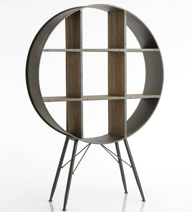 etagere ronde eugene amadeus bibliotheque meuble de rangement en bois et metal 34x119x172cm