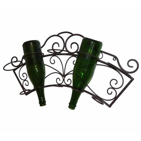 porte bouteille mural etagere a vin range 5 bouteilles en fer marron 11x31x62cm
