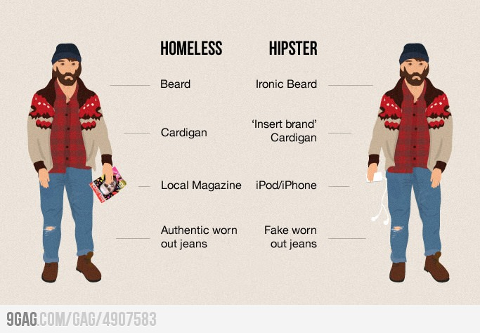 hipster vs clochard