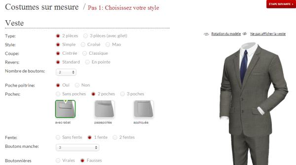 Costume sur mesure pas cher