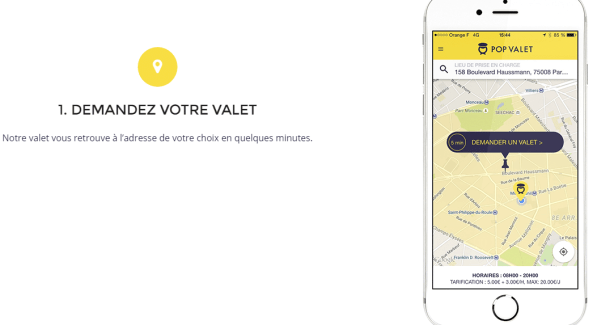 Pop Valet: Voiturier à la demande: Application mobile