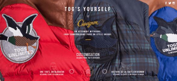 Personnalisation de doudounes TOGS Chevignon