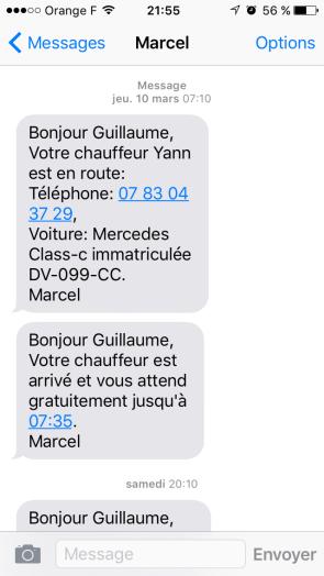 SMS chauffeur privé Marcel