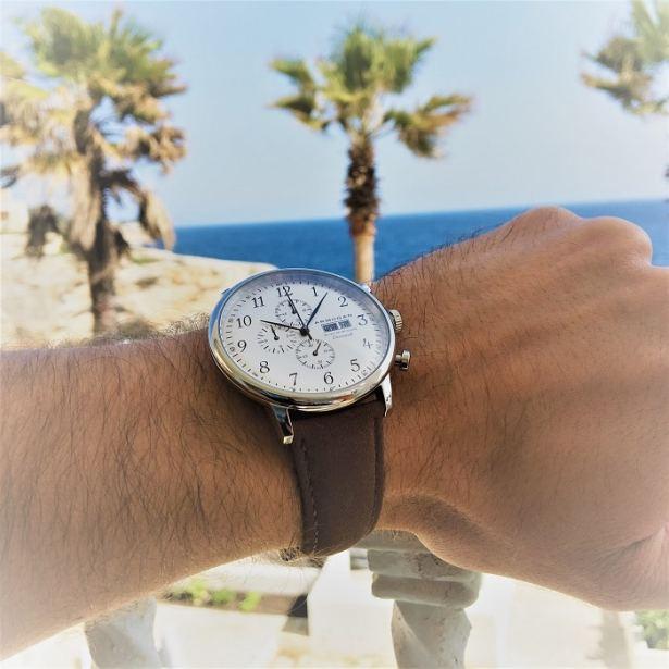 Montre homme Armogan « Spirit of St. Louis » chronographe avec bracelet en cuir marron