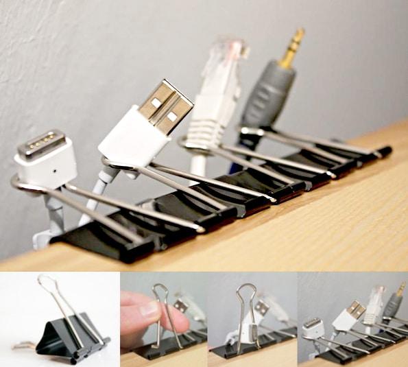 Pinces pour organiser les câbles au coin de votre bureau