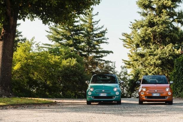 La Fiat 500 Anniversario version vert Riviera et Orange Sicilia.