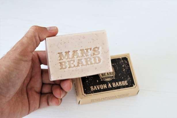 man's beard - fabrication française - savon exfoliant surgras au lait de chevre alpine pour pousse homogene de la barbe
