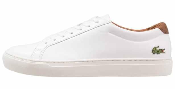 Modèle Lacoste, baskets basses blanches en cuir pour Hommes