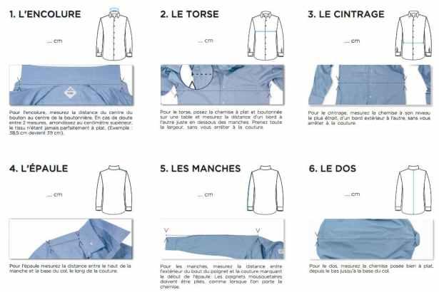 Guide pour la prise de mesure sur chemise