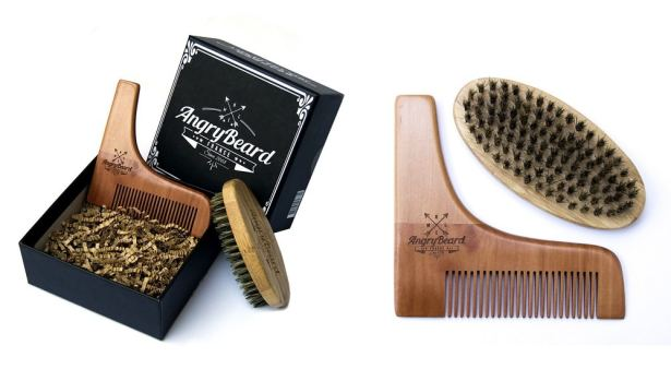 AngryBeard - Coffret brosse et pochoir à barbe
